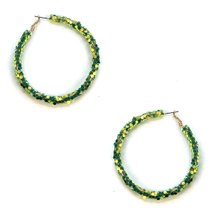 Earring 072c 16 Crystal Avenue glitter hoop earrings green