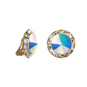crystal earring 132 16 Crystal Avenue round gem 20mm clip ongold clear aurore boreale