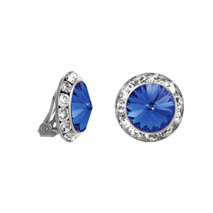crystal earring 131 16 Crystal Avenue round gem 20mm clip on sapphire