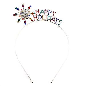 hair 021a 16 Crystal Avenue Headband HAPPY HOLIDAYS Star multi