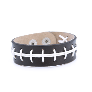 Bracelet 863 16 Crystal Avenue leather stitched football bracelet