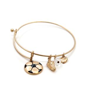 Bracelet 873c 16 Crystal Avenue soccer charms gold