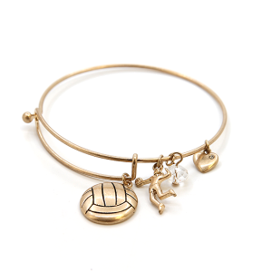 Bracelet 874b 16 Crystal Avenue volleyball charms gold