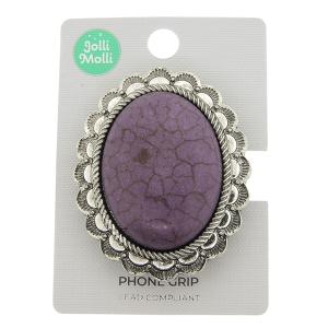 Phone Grip 049a 17 Jolli Molli oval stone purple
