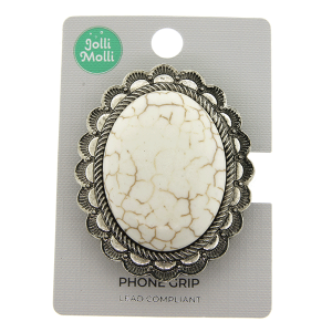 Phone Grip 046a 17 Jolli Molli oval stone white