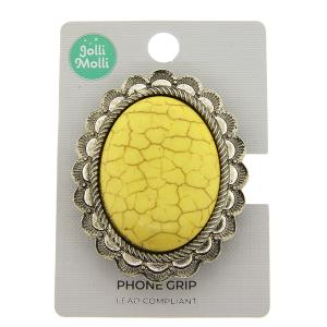 Phone Grip 039a 17 Jolli Molli oval stone yellow