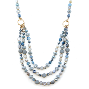 Necklace 078a 17 Venus pearl gem stone tri layer necklace blue