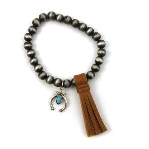 Bracelet 120d 17 Hippie stretch bead bracelet tassel charm brown