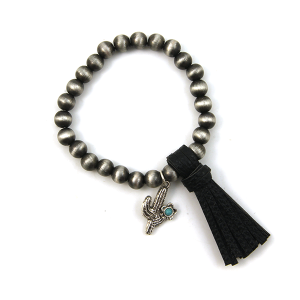 Bracelet 034b 17 Hippie stretch bead bracelet tassel charm black