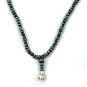 Necklace 1643b 17 Jolli Molli bead navajo necklace silver turquoise