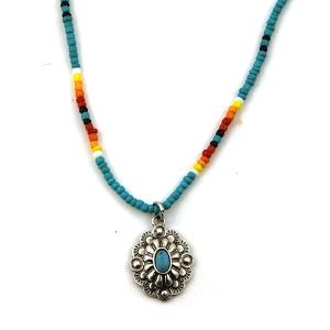 Necklace 1721a 17 Jolli Molli bead navajo necklace turquoise silver concho