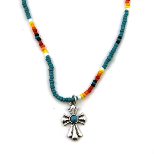Necklace 1660a 17 Jolli Molli bead navajo necklace turquoise silver cross