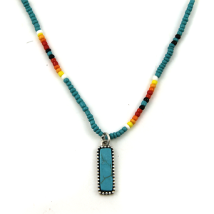 Necklace 1732a 17 Jolli Molli bead navajo necklace turquoise silver rectable bar