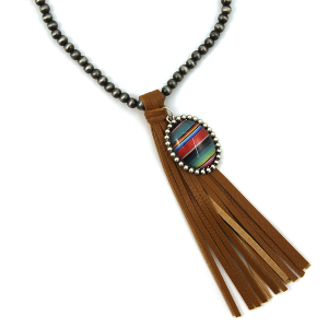 Necklace 692e 17 Hippie bead necklace tassel charm brown