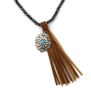 Necklace 501b 17 Hippie bead necklace tassel charm brown