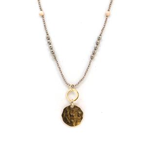 Necklace 1245b 17 Venus contemporary bead medalion necklace brown