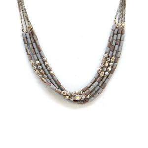 Necklace 1228a 17 Venus contemporary multi layer bead necklace dark gray