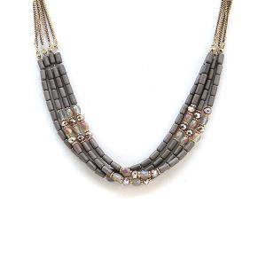 Necklace 1213a 17 Venus contemporary multi layer bead necklace hematite