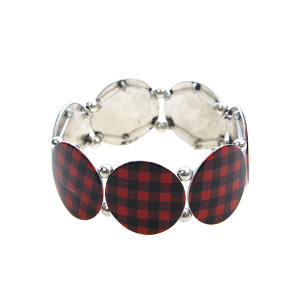 Bracelet 085c 18 Treasure buffalo plaid red