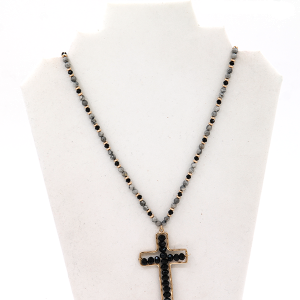 Necklace 187D 77 Pomina gray black bead necklace with black cross