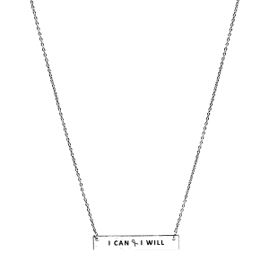 Necklace 401b 18 chain bar pink ribbon I can I will silver