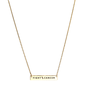 Necklace 365f 18 chain bar pink ribbon fight cancer gold