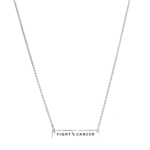 Necklace 1089c 18 chain bar pink ribbon fight cancer silver