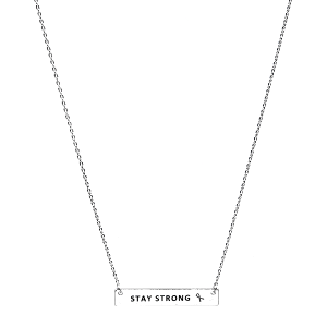 Necklace 785c 18 chain bar pink ribbon stay strong silver