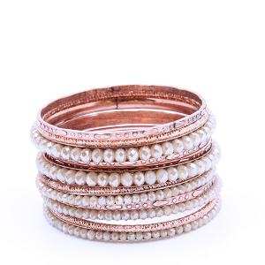 Bracelet 403 18 Treasure Multi bangle bead copper ivory
