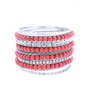 Bracelet 332a 18 Treasure Multi bangle crystal bead silver red