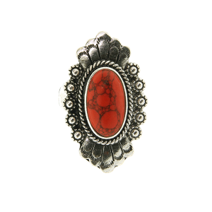 Ring 046a 18 Treasure oval concho stone coral red