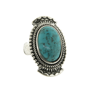 Ring 057a 18 Treasure oval concho stone turquoise
