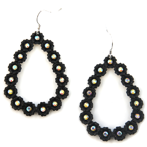 Earring 677b 18 Treasure tear drop hoop rhinestones black