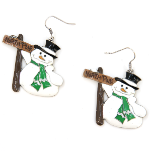 Christmas Earring 105a 18 Treasure snowman north pole