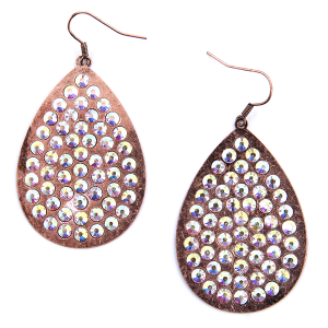 Earring 1537a 18 Treasure tear drop plate rhinestone copper AB