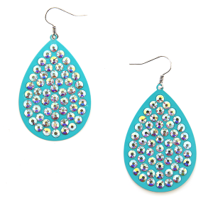 Earring 653k 18 Treasure tear drop rhinestones turquoise