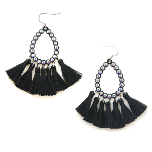 Earring 589a 18 Treasure rhinestone tear drop hoop tassel earrings black
