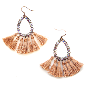 Earring 644j 18 Treasure rhinestone tear drop hoop tassel earrings copper
