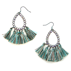 Earring 2694b 18 Treasure rhinestone tear drop hoop tassel earrings patina