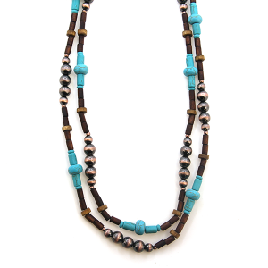 Necklace 595 18 Treasure western bead double layer necklace turquoise brown