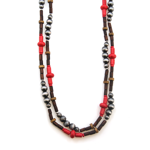 Necklace 600 18 Treasure western bead double layer necklace coral silver