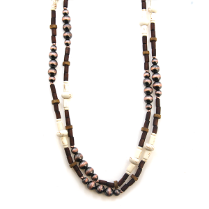Necklace 598 18 Treasure western bead double layer necklace white brown
