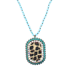 (Necklace 213 18 Treasure) Oval leopard rhinestone bead necklace patina