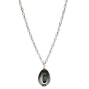 Necklace 849e 18 Treasure Navajo tear drop pendant turquoise