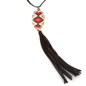 Necklace 1473 18 Treasure string oval drop tassel geometric aztec red