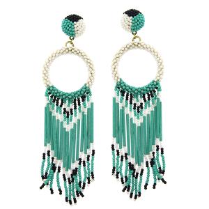 Earring 2604c 18 Treasure hoop seed bead fringe turquoise