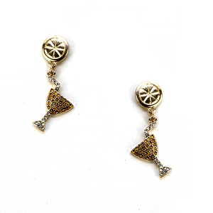 Earring 2659d 18 Treasure martini earrings rhinestone gold