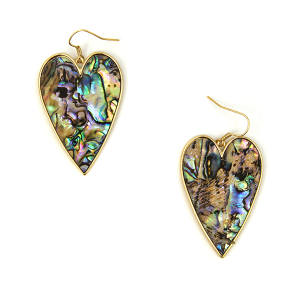 Earring 2263b 18 Treasure abalone heart earrings gold