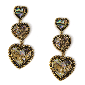 Earring 1731h 18 Treasure abalone heart dangle stud earrings gold