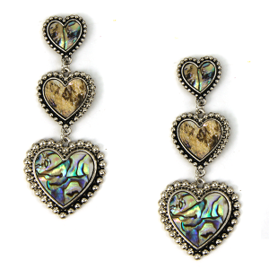 Earring 1733m 18 Treasure abalone heart dangle stud earrings silver